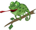 Big green chameleon cartoon sitting on a branch Royalty Free Stock Photography