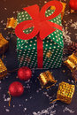 Big green gift box Royalty Free Stock Photo