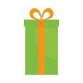big green gift box present ribbon Royalty Free Stock Photo