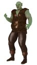 Big green surly ogre large in scaled tunic and leather trousers with expression Stock Images