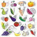 Big group of different fruit berries and vegetables Stock Images