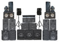 Big group of old industrial powerful stage sound speakers isolat Royalty Free Stock Photo