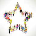 A big group of people gather together in star shape vector design Stock Photos