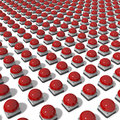 Big group of Red Gameshow Buzzers Royalty Free Stock Photo