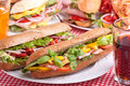 Big group of sandwiches on a table Royalty Free Stock Photography