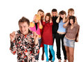 Big group of teenager. Problem. Royalty Free Stock Photo