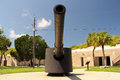Big gun artillery piece at fort desoto in the tampa bay area florida Stock Photo
