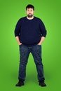 Big guy in full in front of green screen Royalty Free Stock Photography
