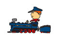 Big guy, small train. Royalty Free Stock Photos