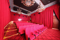 Big hall with red curtains in cinema moscow september gum on september moscow russia comfortable of gum Stock Photography