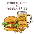 Big Hamburger or Cheeseburger, Beer Mug or Pint, Fried Potato or French Fries. Burger Lettering. Isolated On a White