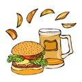 Big Hamburger or Cheeseburger, Beer Mug or Pint and Potato Wedges. Burger Logo. Isolated On a White Background. Realistic Doodle C