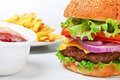 Big hamburger with french fries Stock Images