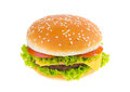 Big hamburger isolated on white background Royalty Free Stock Photo