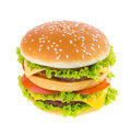 Big hamburger isolated on white background Royalty Free Stock Photos
