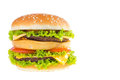 Big hamburger isolated on white background Royalty Free Stock Image