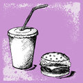 Big hamburger and soda grunge style Royalty Free Stock Photography
