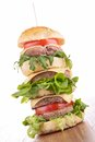 Big hamburger stack of fresh Stock Images