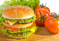 Big hamburger with vegetable background Stock Photography