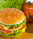Big hamburger with vegetable background Royalty Free Stock Images