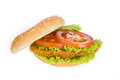 Big hamburger with vegetable background Stock Photo