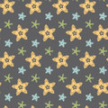 Big hand drawn stars seamless pattern