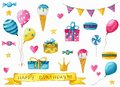 A big Happy birthday set of hand drawn watercolor decoration clipart.