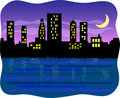 Big harbor city at night/eps Royalty Free Stock Photo