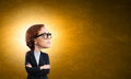 Big head funny young businesswoman with wearing glasses Royalty Free Stock Photo