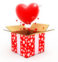 Big heart flying out from box Royalty Free Stock Photo