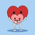 Big heart hug, protect small heart vector hand drawn design Royalty Free Stock Photo