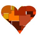 Big heart made of blocks many squares and rectangles Royalty Free Stock Photos