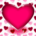 Big heart over seamless heart shape pattern Royalty Free Stock Photography