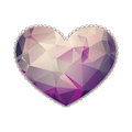 Big heart with polygonal geometric pattern and laconic lace like outline isolated on white valentine s day or wedding illustration Stock Photography