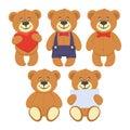 Set of funny brown Teddy bears.
