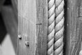 Big hempen rope on the wooden coil Royalty Free Stock Photo