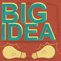 Big idea two yellow bulbs with a green text Stock Photography