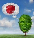 Big ideas business concept with a tree shaped as a human head dreaming and imagining a red apple in a dream bubble made of clouds Stock Photos
