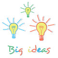 Big ideas creative light bulb concept image illustration Royalty Free Stock Photography