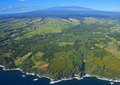Big island hawaii an aerial view panorama of the from snow capped mauna kea el ft to the coast north of hilo including waterfalls Royalty Free Stock Photography