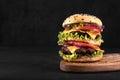 Big juicy hamburger with vegetables and beef on black background. Vintage toned
