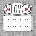 Big label love on gray patterned background Royalty Free Stock Images