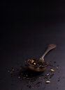 Big leaf tea strainer inside vintage ( spoon ) Royalty Free Stock Photo