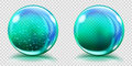 Big light blue glass spheres with air bubbles and without Royalty Free Stock Photo