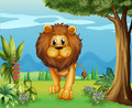 A big lion in the garden illustration of Royalty Free Stock Photography
