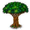 Big magic tree with energy veins. Vector cartoon