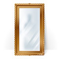 Big mirror in vintage frame, blurry reflection. Royalty Free Stock Photo