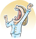 Big morning yawn a cartoon woman has a in the as she wakes up Royalty Free Stock Image