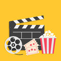 Big movie reel Open clapper board Popcorn box package Ticket Admit one. Three star. Cinema icon set. Yellow background. Flat desig Royalty Free Stock Photo