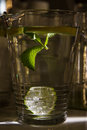Big mug of fresh water with lemon a transparent and mint leaves Royalty Free Stock Photos